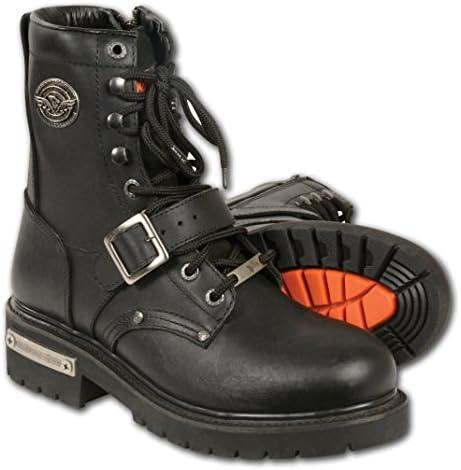 Milwaukee piel de hombre Classic botas de motocicleta (negro, tamaño 8,5)