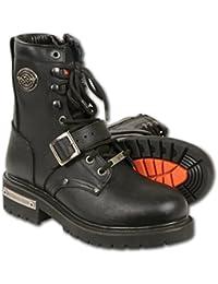 Milwaukee botas piel pantalones de moto, tamaño (negro, 12)