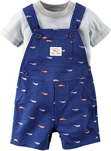 Carters's Kurze Latzhose + T-Shirt Sommer Set Baby Junge Shorts blau Fisch Outfit Boy (0-24 Monate) (18 Monate, blau) Carters Shirt