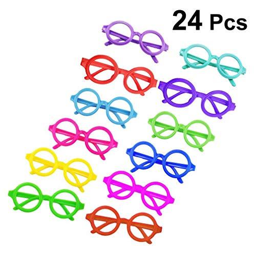 Arten Von Verschiedene Kostüm Nerd - Amosfun 4 Stück Kunststoff Zauberer Brillenrahmen rund Brillenrahmen ohne Gläser Party Kostümzubehör für Geburtstag Halloween (zufällige Farbe)