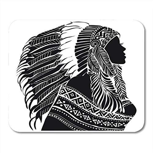 Chief Kostüm Kopfschmuck - Mauspads Chief Red Native Junge Frau im Kostüm der indianischen Silhouette Schöne Frauen Kopfschmuck Tribe Mauspad für Notebooks, Desktop-Computer Matten Bürobedarf