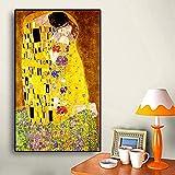 Stampa su Tela Artista Classico Gustav Klimt Bacio Pittura A Olio Astratta su Tela Stampa Poster Arte Moderna Immagini A Parete per Soggiorno 50Cmx70Cm