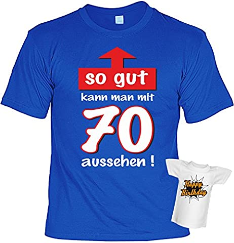 T-Shirt zum 70. Geburtstag so gut kann man mit 70 aussehen mit Mini-Shirt Set 70 Geburtstag 70 Jahre Geschenk fürs Geburtstagskind Idee