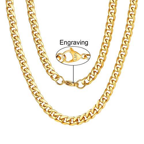ChainsPro Herren Panzerkette Gold Name Initiale Alphabet Buchstaben ohne Anhänger Edelstah Halskette für Damen Herren mit 26