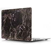 Funda Macbook 12, L2W Macbook 12 pulgadas de margarita rígida Shell patrón de caucho recubierto para la nueva Macbook Retina 12 '' Laptop [2015 Release] [Marble Black Gold flor DL-20]