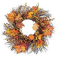 Yunt Corona de otoño, Calabaza de Baya y Hojas de otoño Guirnalda de ratán Hoja de Arce Bowknot Navidad Corona de acción de Gracias de Halloween