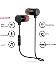 SNEHI ANEW Wireless Sports Bluetooth Magnet Earphone Hands-Free Headphone for All Smartphone (Black)