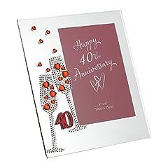 Idea Regalo - Widdop Bingham & Co Ltd WG45440 - Portafoto in vetro, motivo: nozze di rubino, dimensione 7,5