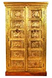 Orientalischer Kleiner Schrank Kleiderschrank Alkarim 152cm hoch | Marokkanischer Vintage Dielenschrank schmal | Orientalische Schränke aus Holz massiv für den Flur, Schlafzimmer, Wohnzimmer oder Bad