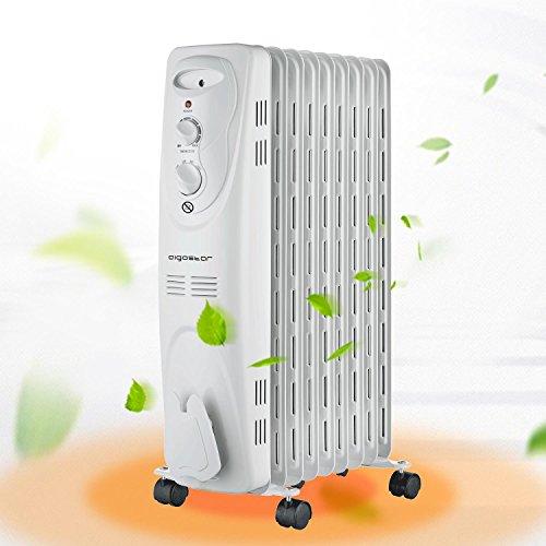 Aigostar Heating Girl 33IEI– Radiateur à bain d'huile portable. 9 éléments, 2000 W. 3 niveaux de puissance et thermostat réglable. Couleur blanc. Design exclusif.