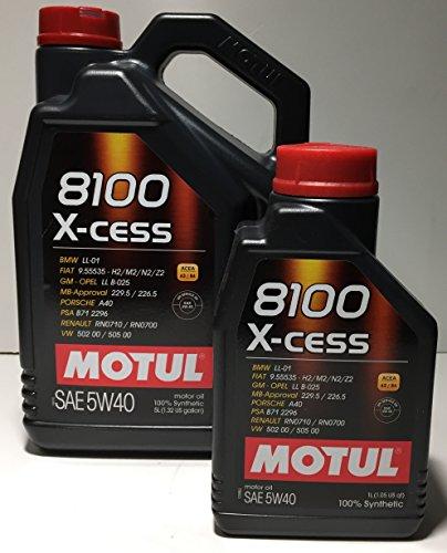 Motul 8100 X-Cess Huile moteur 5W406l (1 bouteille de 5l + 1de 1l)
