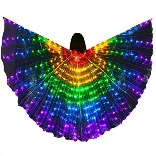 Ranger Kind Power Grünes Kostüm - Upgrade LED Isis Wings - Bunter LED Bauchtanz Isis Wings - Kostümumhang mit Teleskopstäben, Bauchtanz, Halloween Weihnachten Kostüm Cosplay Party
