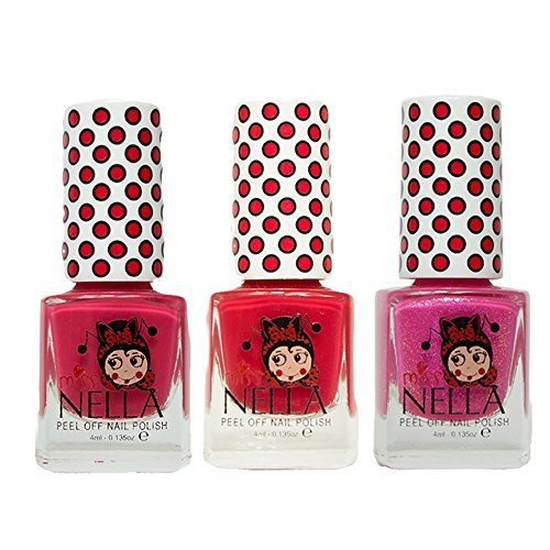 Miss Nella Cherry-Makronen, Erdbeere Creme, Tickle Me Pink spezielle Glitzer Kinder Nagellack mit Peel Off auf Wasserbasis Formel -