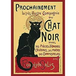 "Póster ""Le Chat Noir"" (61cm x 91,5cm) + 2 marcos negros para póster con suspención"
