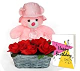 #8: TiedRibbons® Teddy Bear with Greeting Card and Roses with Basket | birthday return gifts | birthday gifts for women | birthday gift for wife | birthday gifts for girlfriend