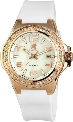 Carucci Watches CA2213RG-WH - Orologio da polso da donna, cinturino in caucciù colore bianco
