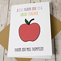 Personalised Thank You Teacher Card Apple Design A5 Size