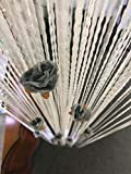 HYSENM Fadenvorhang Dekovorhang 100 x 200cm mit Blumen Vintage fest für Türen Hochzeit Party, Weiß 100 x 200cm