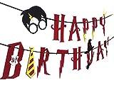 Witch's Magic House Hexe, Haus, mit Harry Potter –, Happy Birthday Banner, Partyzubehör, Dekoration Party Girlande, Rot