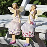 Kantenhocker Thesi & Resi als Elfen/Engel/Feen - 2 süsse Deko Figuren aus Keramik