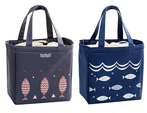 Isuperb 2 pezzi borsa termica pranzo impermeabile borsa porta pranzo grande borsa frigo pranzo ufficio lunch bag per adulti e bambini 20×20×13 cm (blu scuro e grigio scuro)