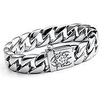 Mendino - Bracciale rigido da uomo in acciaio Inox, da biker, stile gotico, in argento, con sacchetto di velluto