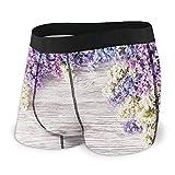 Generic Men's Underwear Sports Boxer Briefs, Lilac Flowers Bouquet on Wood Table Spring Nature Romance Love Theme,S