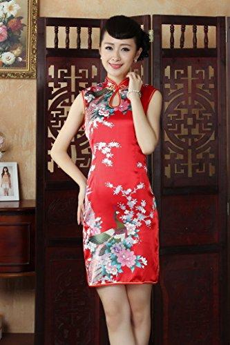 Smile YKK Femme Robe Courte Qipao Paon Fasion Satin Rouge