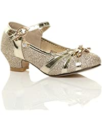 ec3a1ad975b2 Girls Kids Childrens Low Heel Diamante Bow Mary Jane Glitter Court Shoes  Size