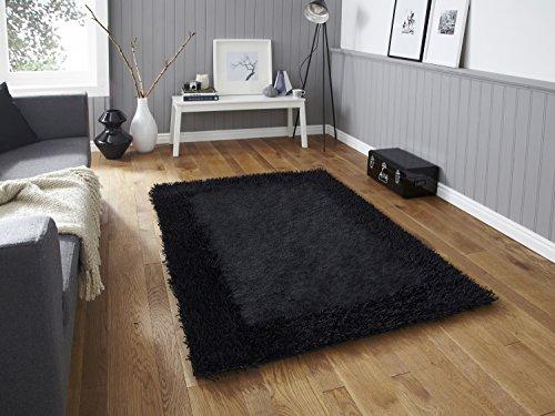 Sable Handgetufteter Wollteppich, dick, dünn, &Shaggy-Teppich, weich, groß, 100 %Polyester, verschiedene Farben, Größen &), schwarz, 150cm x 230cm