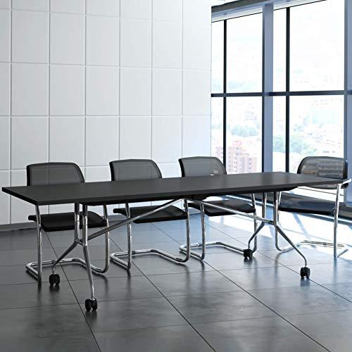 Weber Büro Falttisch Klapptisch 2.400 x 1.000 mm Libro Anthrazit Konferenztisch klappbar rollbar...
