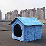 Pet Dog House Large Dog Bed Cat Bed Pet nest Dog kennel Soft Blue (46*40*45cm(18.1*15.7*17.7inch)door size 24*24cm(9.4*9.4inch))