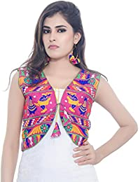 Banjara India Women's Poly Cotton Embroidered Kutchi Short Jacket/Koti (SJK-DND06_Pink_Free Size)