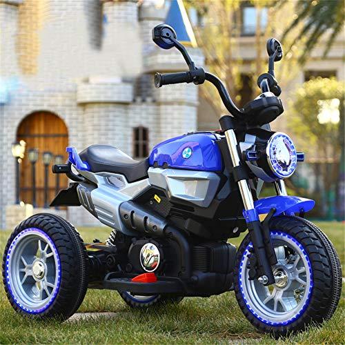 Niños Motocicleta ElÉCtrica con Luz LED MÚSica Motocross 6v BaterÍA Infantil Moto,Blue