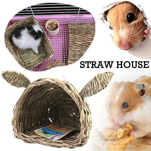 MoO1deer Gewebtes Strohhalm für Kaninchen, Hamster, Meerschweinchen, Spielzeug, Chinchilla-Bett für Kaninchen, Chinchillas, Meerschweinchen und andere kleine Tiere, Holzfarbe -