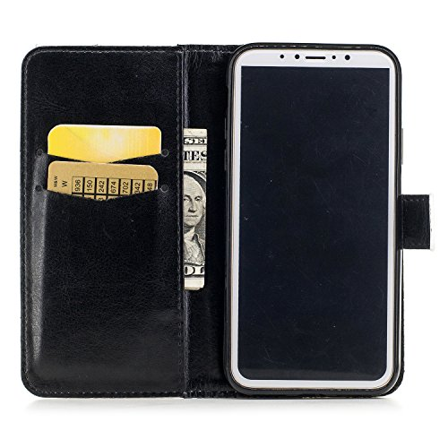 Leather Case Cover Custodia per iphone X ,COZY HUT Caso / copertura / telefono / involucro Modello retrò colorato del modello PU con a Bookstyle tasche carte di credito funzione con interno morbido in 8 parole penne