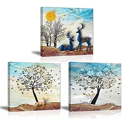 Piy Painting Stampe e Quadri su Tela – 3X Stampe su Canvas – Zen Spa Yoga bambù Verde e Bellissimo Fiore Murale Tela Wall Art con Cornice per Home Decor Regalo di Anniversario Natale 30x30x2.5cm
