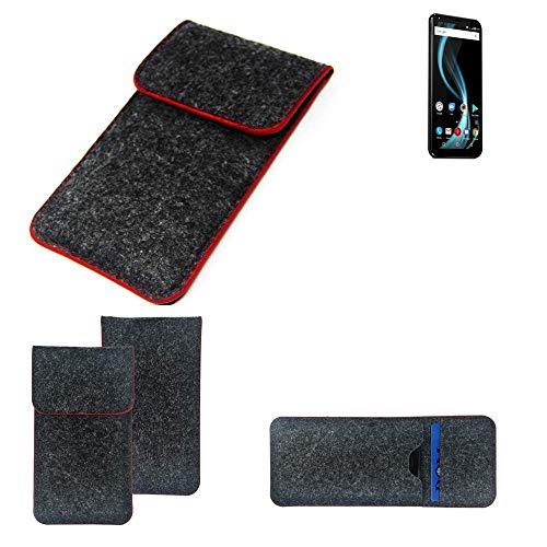 K-S-Trade® Filz Schutz Hülle Für -Allview X4 Soul Infinity Plus- Schutzhülle Filztasche Pouch Tasche Case Sleeve Handyhülle Filzhülle Dunkelgrau Roter Rand
