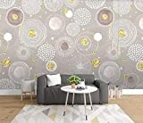 Carta da parati 3D Semplice retrò Nordic Golden Cerchi dipinti a mano Soggiorno moderno Camera da letto Grande murale Decorazione murale-430cmx300cm Adesivi murali, adesivi, finestre, adesivi per tatu