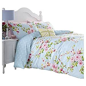 housse couette taies fleur bleu rose reversible coton shabby chic pour lit king. Black Bedroom Furniture Sets. Home Design Ideas