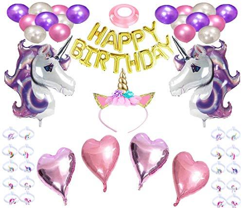 Einhorn Geburtstagsparty liefert 46st.Einhorn-Thema Geburtstag Dekor - 2 riesige Pastell Einhorn 16-Zoll-Gold Geburtstagsbriefe, Latexballons, Einhorn Horn Stirnband & Party Favors Armbänder