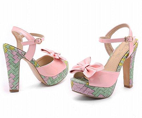 Mee Shoes Damen süß Schleife Plateau Slingback Sandalen Pink