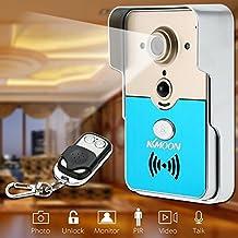 KKmoon HD 720P Timbre Mirilla para Puerta Videoportero P2P Inalámbrico WIFI Visual Intercom Desbloqueo Remoto Soporta Tarjeta TF Acceso por Móvil