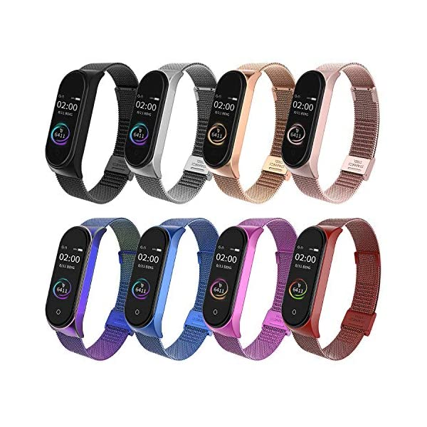 BDIG Correa Compatible Xiaomi Mi Band 4 Correas Metal,Pulsera de Acero Inoxidable Agradable para Mi Band 4 Correa (No Host) 7