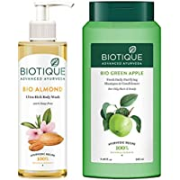 Biotique Almond Oil Ultra Rich Body Wash, Botanical Extracts, 200 ml and Biotique Bio Green Apple Fresh Daily Purifying…