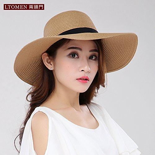 La primavera e l'estate erba-nastro tesa larga cappelli visiera parasole tour hat cappuccio pieghevole, M (56-58cm) , luce colore