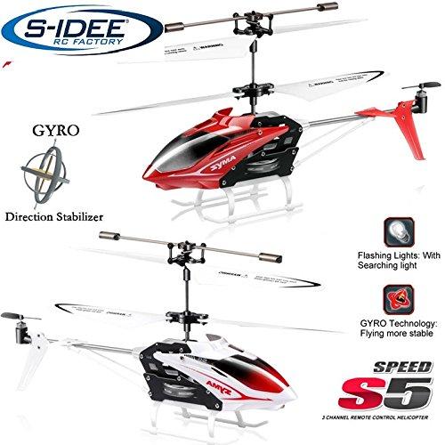 s-idee® 01164 - S5 3.5 Kanal Heli Syma Hubschrauber RC ferngesteuerter Hubschrauber/Helikopter/Heli mit GYROSCOPE-TECHNIK + 2,4Ghz TECHNOLOGIE!!! für INNEN und AUSSEN brandneu mit eingebautem GYRO! FLUGFERTIG! - Syma Helicopter Rot