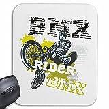 Reifen-Markt Mousepad (Mauspad) BMX Rider Bicycle Motocross BONANZARAD Fahrrad Freestyle Mountainbike für ihren Laptop, Notebook oder Internet PC (mit Windows Linux usw.) in Weiß