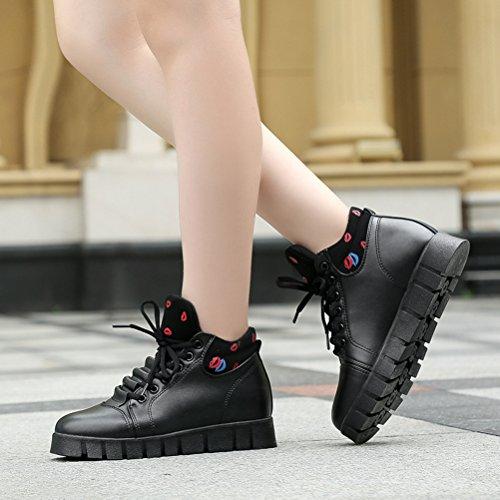 Moderne Kurzschaft Damen Lippenstift Schnürsenkel Gummi Sohle Anti-rutsch Bequeme Lässige Tägliche Flache Sneakers Schwarz