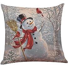 """Keepwin - Funda para cojín, diseño estampado navideño de muñeco de nieve, 45 x 45 cm, cuadrada, algodón, lino, Multicolor #B, 18""""x18"""" (approx 45cm*45cm)"""